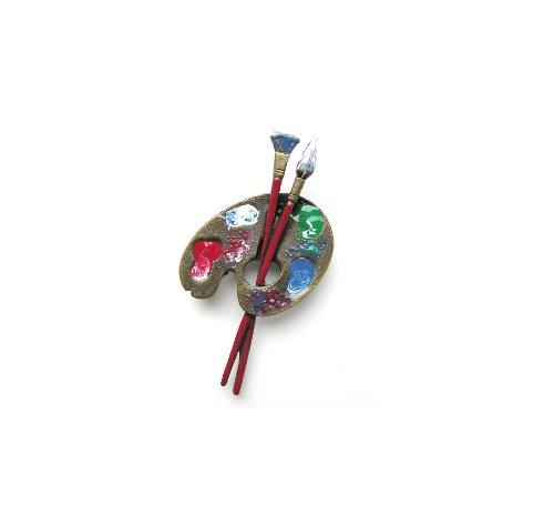 Spilla pittore smaltata per capotto giacca vestito fazzoletto da collo blusa borsa dipinto a mano ottone