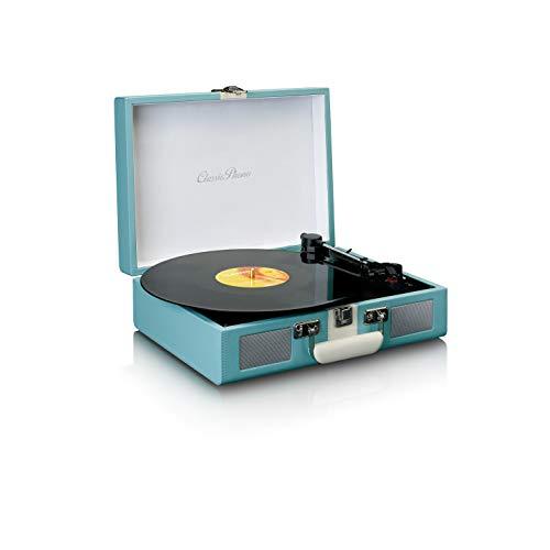 Classic Phono by Lenco TT-110 Plattenspieler - Kofferplattenspieler - 33, 45 und 78 RPM - Bluetooth - Riemenantrieb - 2 Lautsprecher - AUX-IN, RCA-Out, 3,5mm - Blau/Weiß