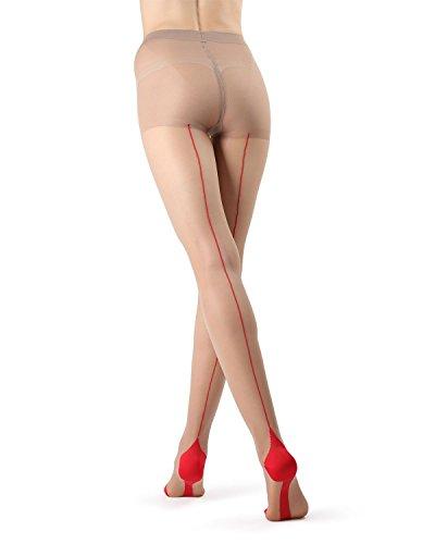 MeMoi Cuban Heel Stocking | Seamed Pantyhose Nude/Red MM 618 Large
