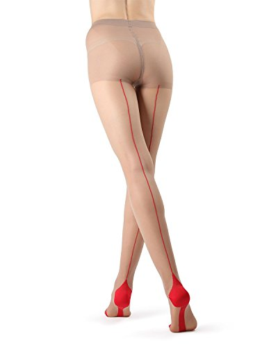 MeMoi Cuban Heel Stocking | Seamed Pantyhose Nude/Red MM 618 Large