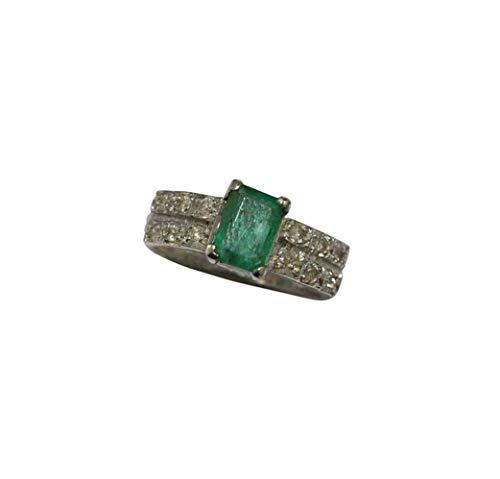 Rajasthan - Anillo de plata de ley 925 con sello de gemas auténticas, piedra esmeralda verde real y diamantes, talla L