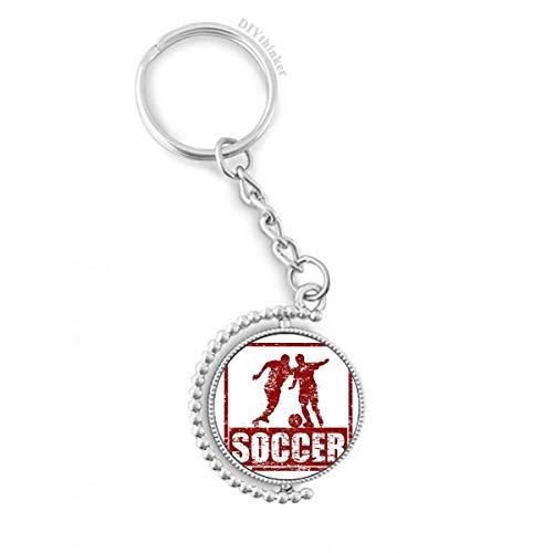 DIYthinker Men Red Football Player Pak Voetbal Draaibare Sleutelhanger Ring Sleutelhouder 1,2 inch x 3,5 inch Multi kleuren