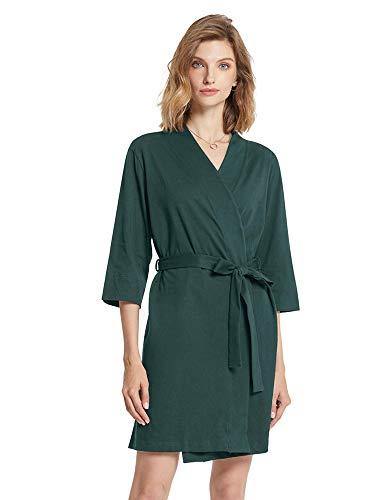 SIORO Damen Morgenmantel, Baumwolle, Kimono, Robe, Strick, Damen, Bademantel, Nachtwäsche, kurz S-XXXL Gr. 36, dunkelgrün