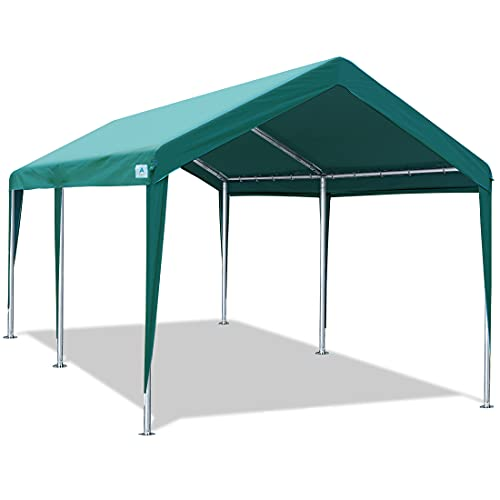 ADVANCE OUTDOOR Adjustable 10x20 ft Heavy Duty Carport Car Canopy Garage Boat Shelter Party Tent, Adjustable Height from 6.5ft to 8.0ft, Green
