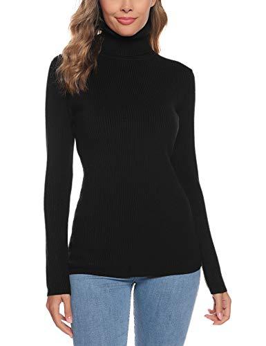 Aibrou Suéter de Cuello Alto para Mujer, Prendas de Punto de Manga Larga elásticas Suaves, livianas y sólidas Jersey con Raya de Diamantes Negro S