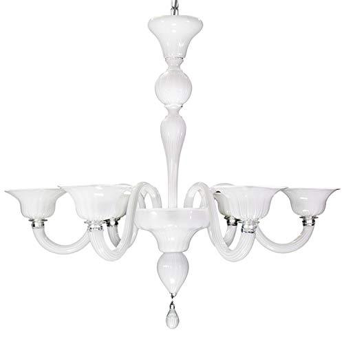 Lustre en verre de Murano blanc