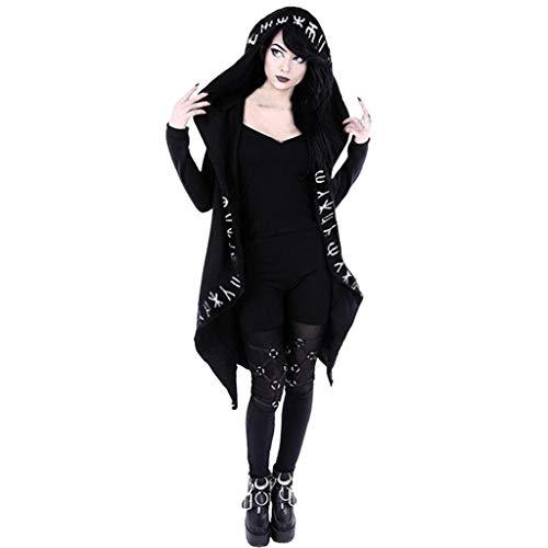 Chaqueta gótica de manga larga con capucha para mujer, estilo punk, color negro, con cuello, elegante, para carnaval