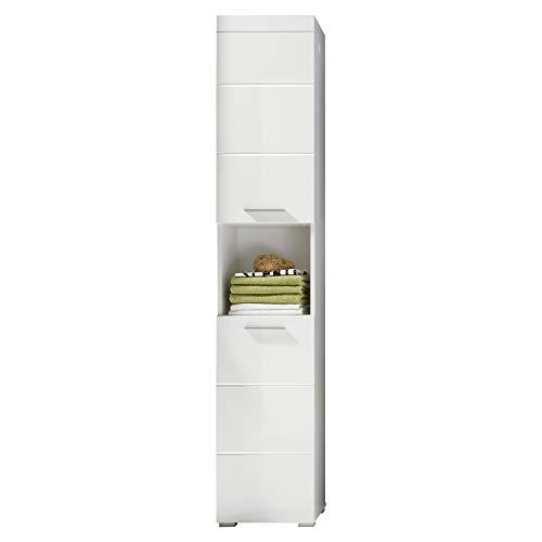 trendteam smart living Badezimmer Hochschrank Schrank Amanda, 37 x 190 x 31 cm in Weiß / Weiß Hochglanz mit offenem Fach