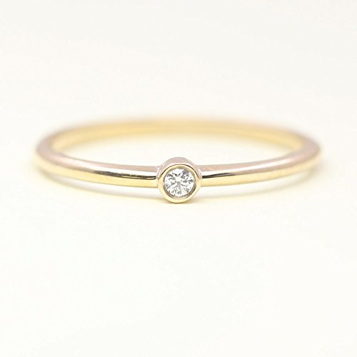 Stacking Dainty Diamond Ring, Solitaire Bezel Ring, Dainty Diamond Band, 14k Solid gold Wedding Ring, Tiny Wedding Band for Women