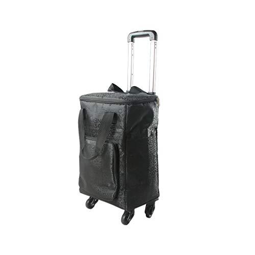 Boodschappentrolley afneembare, aluminium legering universele fiets boodschappenmand reistas boodschappentas, zwart (30X20X99cm) Lostgaming