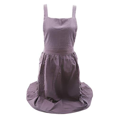 Generic ZNMUCgs Elegante Kleid Schürze Baumwolle Leinen Kreuz zurück Schürze zum Malen Flower Shop Cafe,Grau