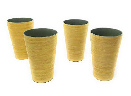 Kucly Set de 4 Vasos Largos Eco-Friendly sin BPA (Bambú) / 350 ml (Bambú Claro)