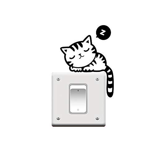XSM Líder Estrella Mode Nette Gato Siesta Mascotas Luz Interruptor Divertido Pared Pegatinas Vinilo Adhesivo
