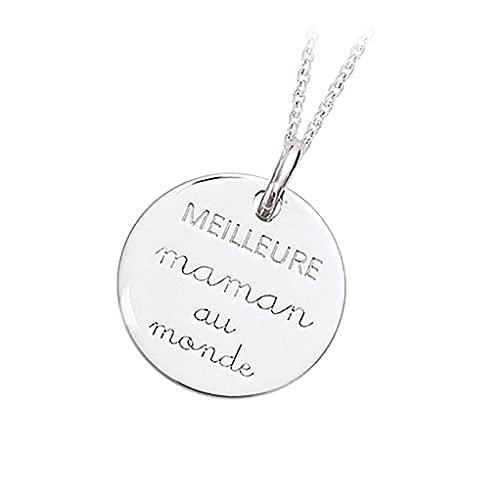 Tata Gisèle - Colgante de plata 925/000 – El mejor mamá en el mundo – Grabado incluido – Bolsa de terciopelo de regalo