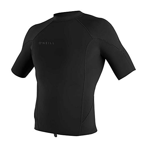 O'Neill Wetsuits Men's Reactor-2 1mm Short Sleeve Top, Black, Large