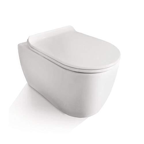 NEG Hänge-WC Uno11RK SlimLine (Tiefspüler/randlos/kurz) Toilette ohne Unterspülrand mit Duroplast Soft-Close-Deckel und Nano-Beschichtung