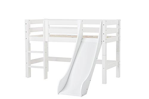 Hoppekids PREMIUM Kiefer massiv inklusiv Lattenrost, gerade Leiter und Rutsche, Holz, Weiß, Single, 169 x 114 x 177 cm