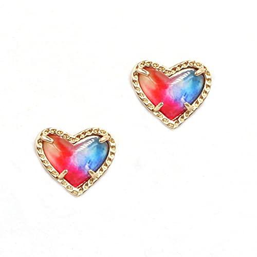 XCWXM Multicolor Small Heart Resin Abalone Shell Geometric Bling Bling Glit-twenty three