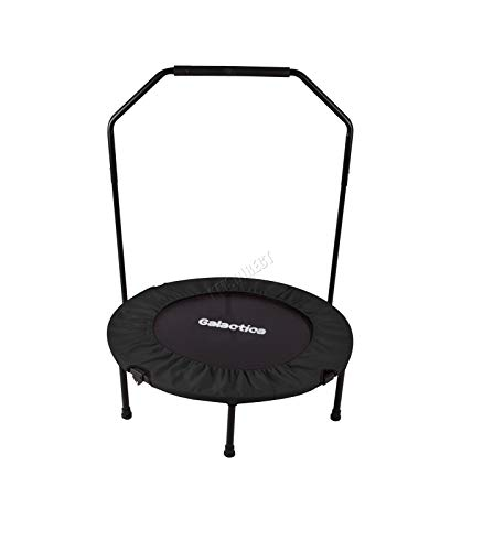 GALACTICA Foldable Rebounder | Mini Trampoline For Fitness | Indoor Bouncer With Handrail | Home Gym Equipment | Weight loss Cardio Exercise | 36 Inch Black