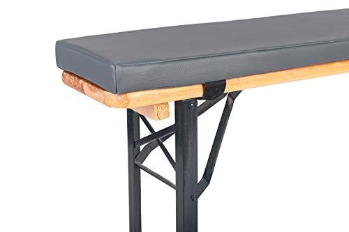 TexDeko Bierbank-Auflage mit Kunstlederbezug (Einzeln) - Polsterung EXTRA Dick ↨ für Bierzeltgarnitur (4cm Polsterhöhe, Grau)