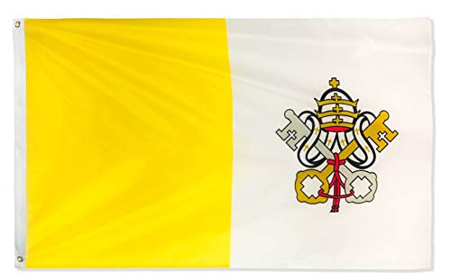 DANF Vatican Flag 3ftx5ft State of Vatican City National Flags Polyester with Brass Grommets 3x5 Foot Flag