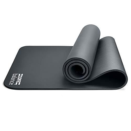 CORE BALANCE - Materassino da Pilates, in Schiuma ad Alta densità, per Palestra, Yoga, Fitness, Arrotolabile, 12 mm, Nero
