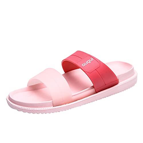 Sandalias abiertas para mujer, verano, primavera y otoño, cómodas, planas, antideslizantes, suela fija, suela de goma, material para la playa o el baño