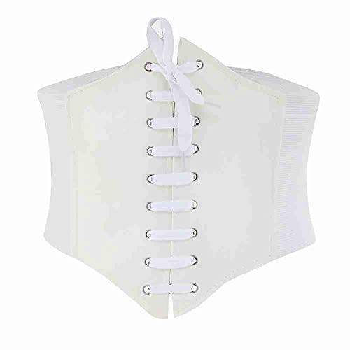 Li Ying Cinturón de Cintura con corsé elástico para Mujer Cinturones Waspie Atados con Cordones Fajas Anchas de Cuero para Mujer
