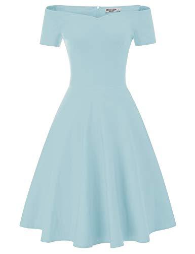 GRACE KARIN Evening Party Swing Dress Off Shoulder Short Sleeve for Women Size S Sky Blue CL020-7