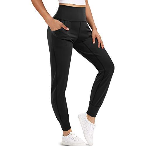 LEINIDINA Yoga Sports Pants Sports Tights Leggings with Pockets, High Waist Tummy Control Workout Running Training Pants (Black, Medium)