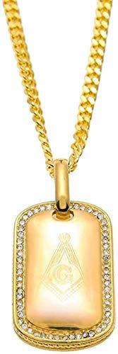 Collar Acero Inoxidable 316L Color Dorado Iced out Masón Masónico Masones Etiqueta de Perro Colgante Collar de Cadena Cubana Longitud 70Cm