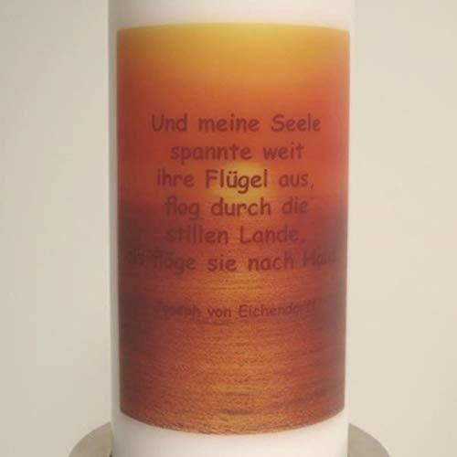 Kerze mit Trauerspruch. Und Meine Seele spannte weit ihre Flügel aus, Bilddruck. 1 Stück