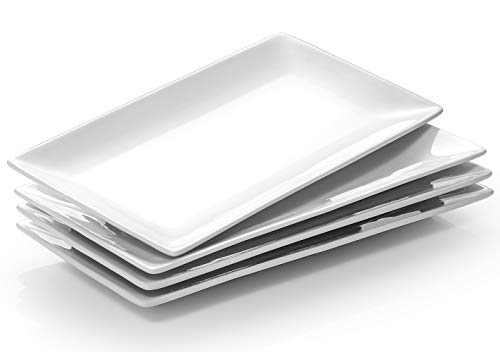 DOWAN Porcelain Rectangle Serving Plates - 12 Inches White Serving Platters, Restaurant Plates for Meat, Appetizers, Dessert, Sushi, Party, Set of 4