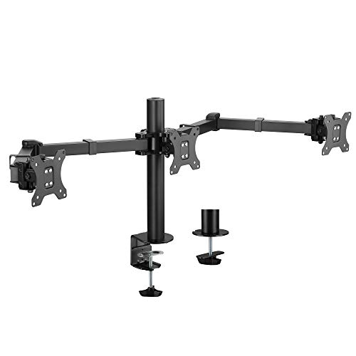AVLT Triple 27' Monitor Desk Stand Mount Three Monitors on Enhanced Strong Articulating Arms Organize Workspace with Ergonomic VESA Monitor Mount