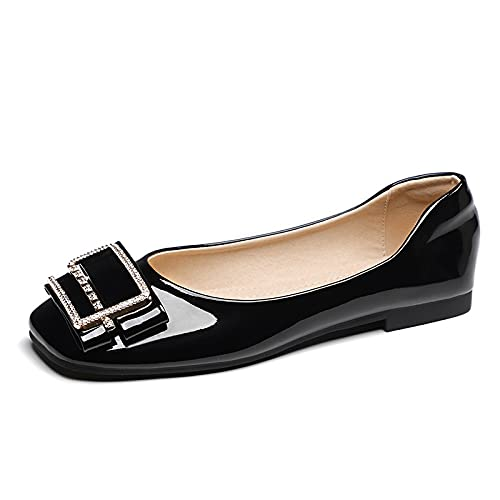 HaiFiy Zapatos de Mujer Ballet Pisos Mocasines Cuero Casual Zapatos Mujer Plaza Plaza Slip-On Slippers Mujer (Color : Black, Size : 36)