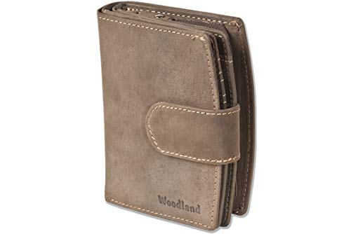 Woodland® Kompakte Luxus-Damenbörse mit besonders vielen Kreditkartenfächer aus naturbelassenem Büffelleder in Dunkelbraun/Taupe, Dunkelbraun