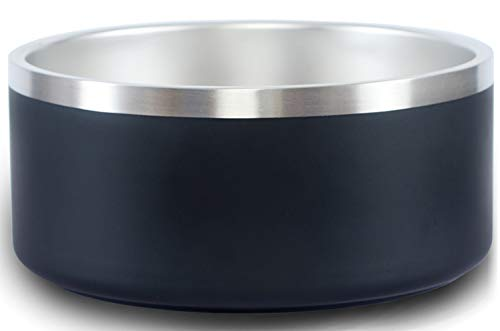 Jaoul Premium 304 Stainless Steel Dog Bowls 32 Oz - Heavy Non Slip Dog Bowl Large - Pet Feeder and Water Bowl No Spill (32 Oz, Black-1 Pack)