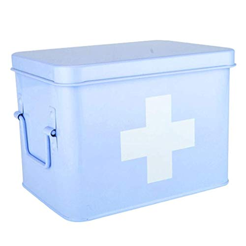 1yess Pill-Box Medizin Aufbewahrungsbox verzinktem Eisen Haushalt Medizin-Box Apotheke (Farbe: Pink, Größe: L21.5CM) (Color : Blue, Size : L32CM)