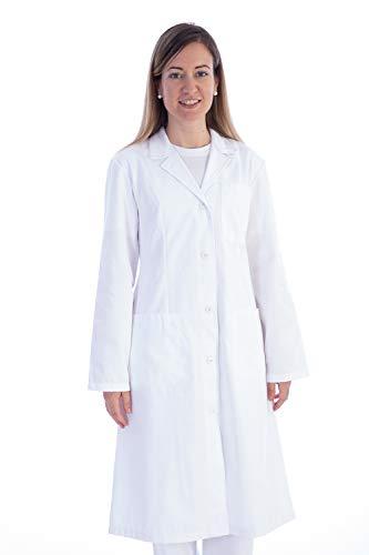 GIMA 21402 Camicia in Cotone e Poliestere, con Bottoni para Donna, S, Bianco
