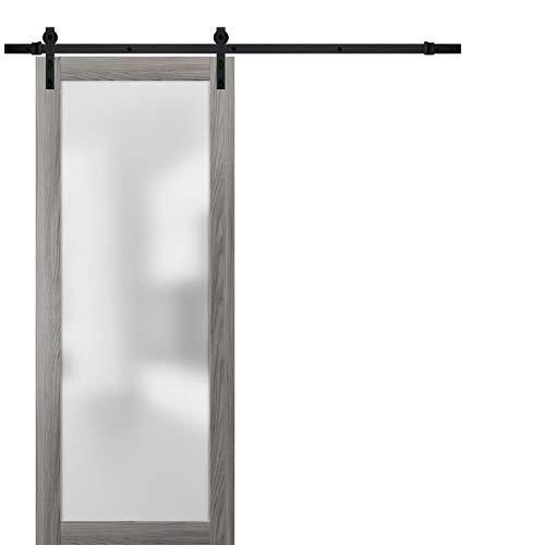 Sliding Barn Glass Door 32 x 80 | Planum 2102 Ginger Ash | 6.6FT Rail Hangers Stops Hardware Set | Modern Solid Core Interior Door Eco-Veneer