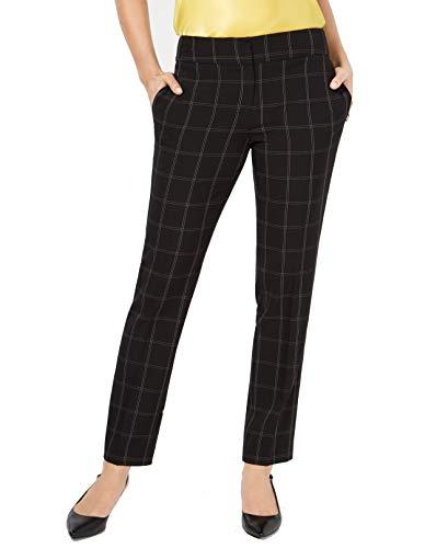 Kasper Womens Windowpane Check Print Business Pants B/W 14 Black/White