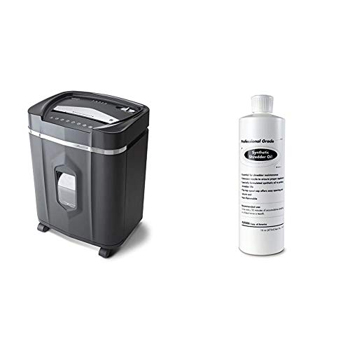 Aurora AU1210MA Professional Grade High Security 12-Sheet Micro-Cut Paper/CD and Credit Card/ 60 Minutes Continuous Run Time Shredder & SL16 Professional Grade Synthetic Shredder Oil