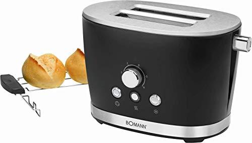 Toaster mit Brötchenaufsatz Schwarz Edelstahl Regelbarer Thermostat (Retro, 850 Watt, 2 Toastschlitze, Krümelschublade)