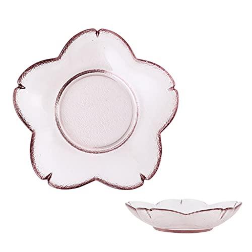 Salsa Plato Sakura En Forma de Rosa Vidrio Condimento Platos Salsa de Soja Platos Platos Platos Ensaladas Cuencos y Placas APPTEIRIZER (Size : Large)