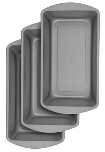 """BakerEze Large Non-Stick Loaf Pan, 10.9""""L x 5.7""""W x 2.7""""H, Pack of three, Grey"""