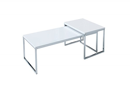 DuNord Design salontafel Stage lang wit moderne salontafel set chroom design bijzettafel set van 2