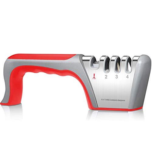 yotame Messerschärfer Profi, 4 Stufen Manuelle Messerschaerfer Messerschleifer Schleifstein für Grobschärfen und Scheren Schleifen/Diamant für Feinschärfen/Keramikstein für Präzisionsschärfen
