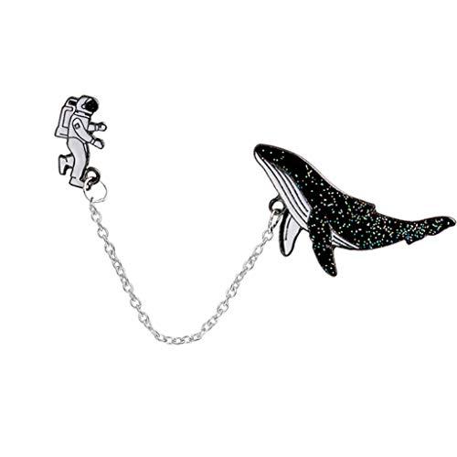 U/K ExquisitBroschen Damen Herren Astronaut Space Whale Schal Pin Cute Brosche Wear Haltbarkeit Praktisch und bequem
