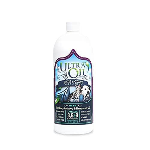 Ultra Oil Skin and Coat Supplement for Pets with Hemp Seed Oil, Flaxseed Oil, Grape Seed Oil, Fish Oil for Relief from Dry Itchy Skin, Dull Coat, Hot Spots, Dandruff, and Allergies (32 fl. oz) - Packaging May Vary