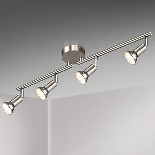 Unicozin LED Deckenleuchte, 4 Flammig LED Deckenstrahler Schwenkbar Matte Nickel, Inkl. 4 x 3.5W GU10 LED Lampen, 380LM, Warmweiß, LED Deckenspot LED Deckenlampe